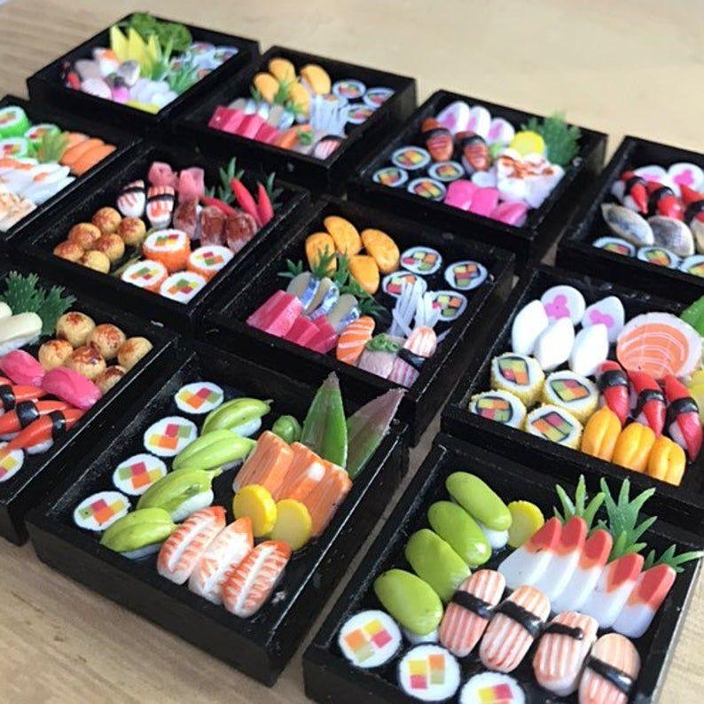 5Pcs.Miniature Japanese Sushi,Miniature Sushi Set,