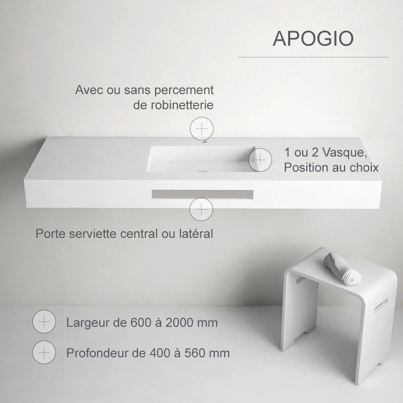 Plan vasque en résine minérale, épaisseur 120 mm, Apogio bathroom
