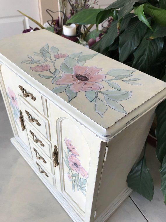 Wooden Jewelry Box / Painted Vintage Jewelry Armoire / Upcycled ...