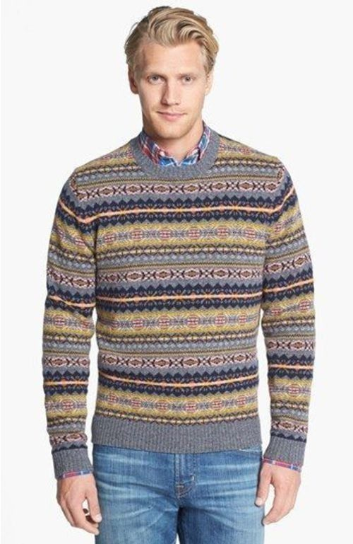 Men's Grey Fair Isle Crew-neck Sweater, Red Plaid Long Sleeve ...