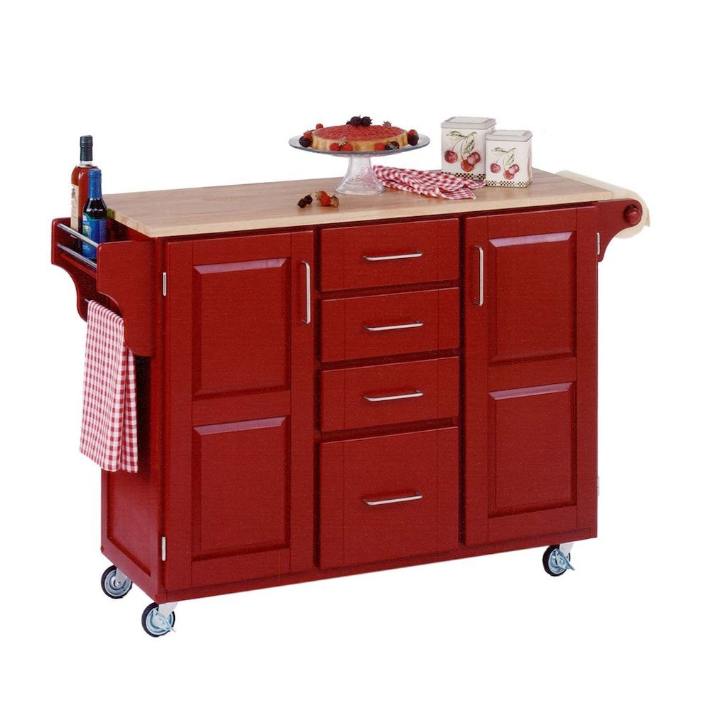 Wood-Top Cabinet Kitchen Cart | Products | Red kitchen ...