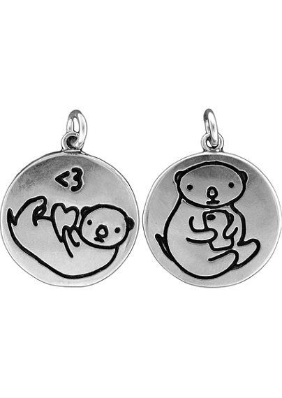 Texting otter necklace reversible sterling silver otter pendant texting otter necklace reversible sterling silver otter pendant aloadofball Image collections