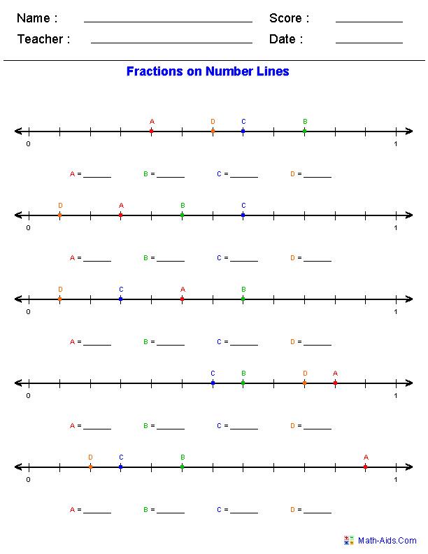 Number line worksheets for addition subtraction fractions – Improper Fractions on a Number Line Worksheet