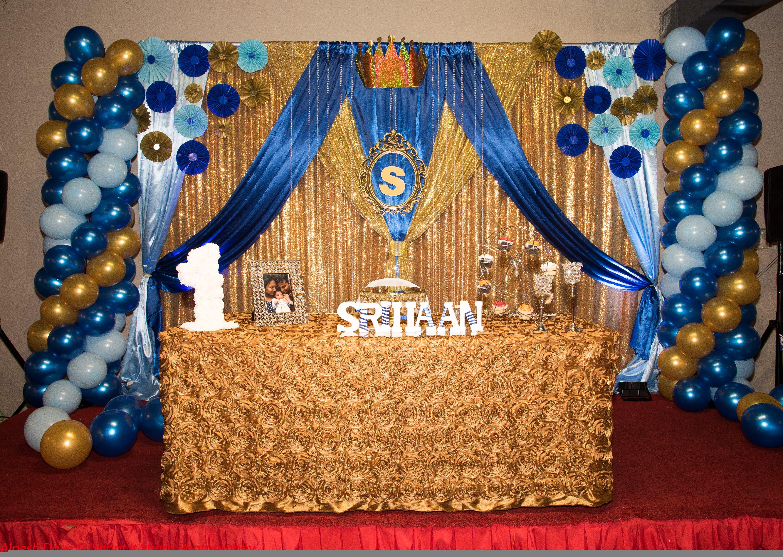 Baby Boy 1st Birthday Decor At Aachi S Indian Restaurant Decoration Decoration Id 1st Birthday Party Themes First Birthday Party Themes Boys 1st Birthday Cake
