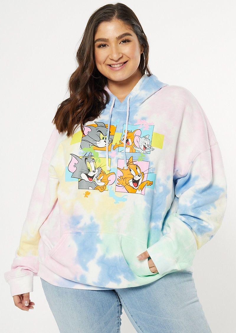 Plus Size Pastel Tie Dye Tom And Jerry Graphic Hoodie Tie Dye Outfits Stylish Hoodies Trendy Hoodies [ 1130 x 800 Pixel ]