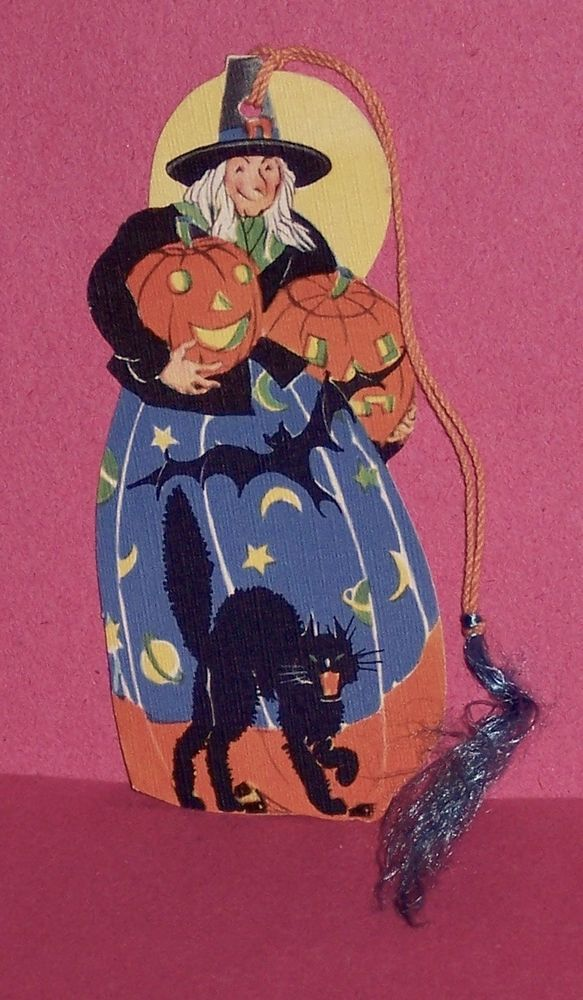 great vintage halloween witch black cat pumpkins bat tally card near mint