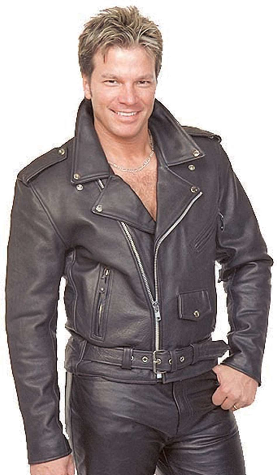 Jamin leather classic leather motorcycle jacket for men