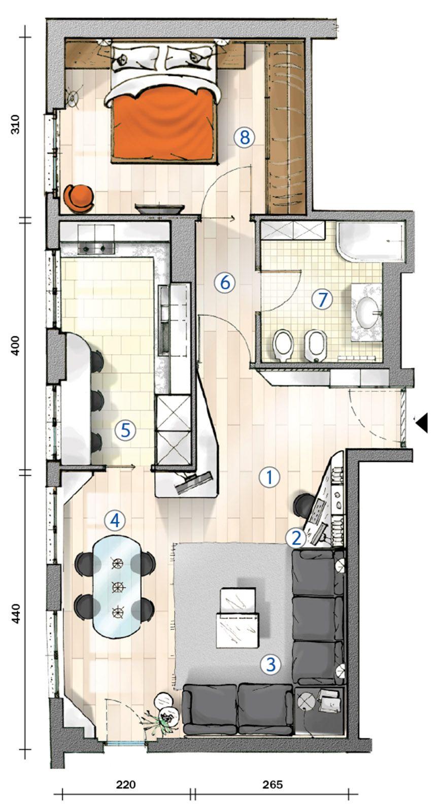 Cucina separata nel bilocale perfetto per due la pianta for Progetto casa 75 mq