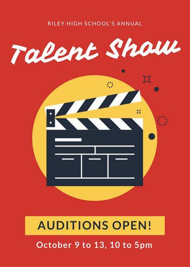 Red and Yellow Talent Show Flyer canhan pohjia Talent show
