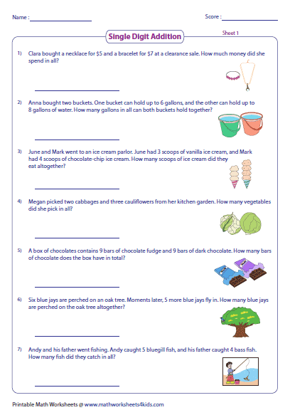 Colorful Theme Based Word Problems Involving Addition Subtraction