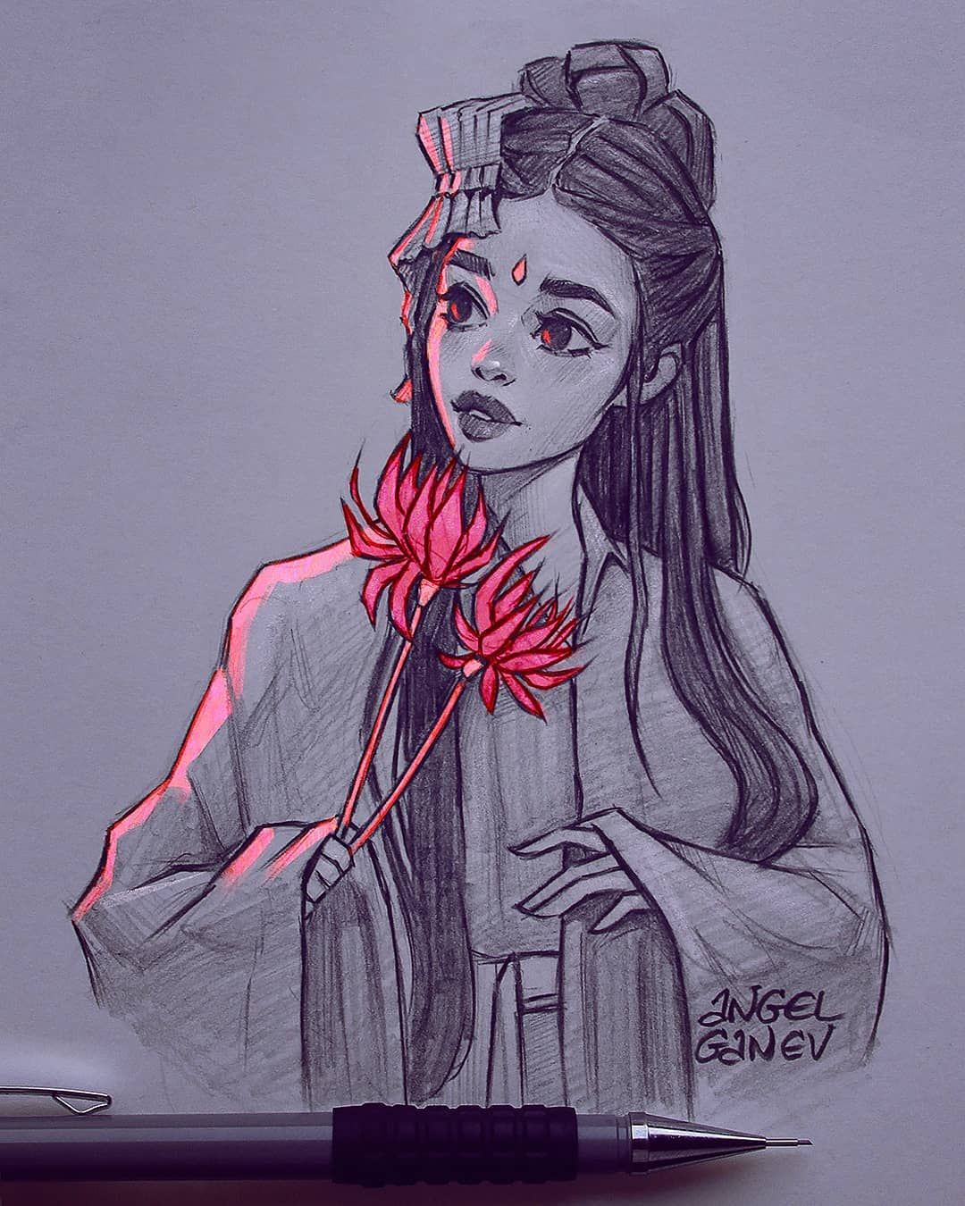 "Angel Ganev on Instagram: ""Glowy~😍✨ Pencil sketch with color but don't know who the reference is cause I found it on this chinese website huaban.com 🙈 . If anybody…"""