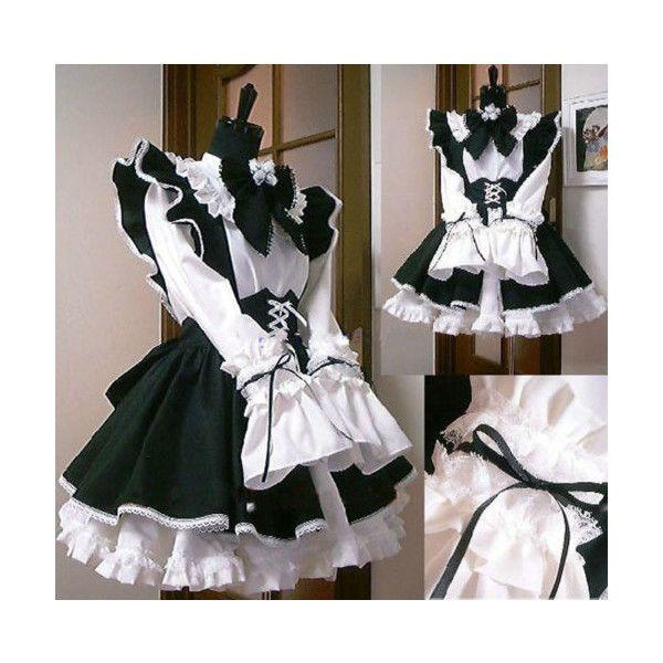 Women Costume Waitress Cosplay Maid Ruffle Lolita Gothic Girl Fancy Dress