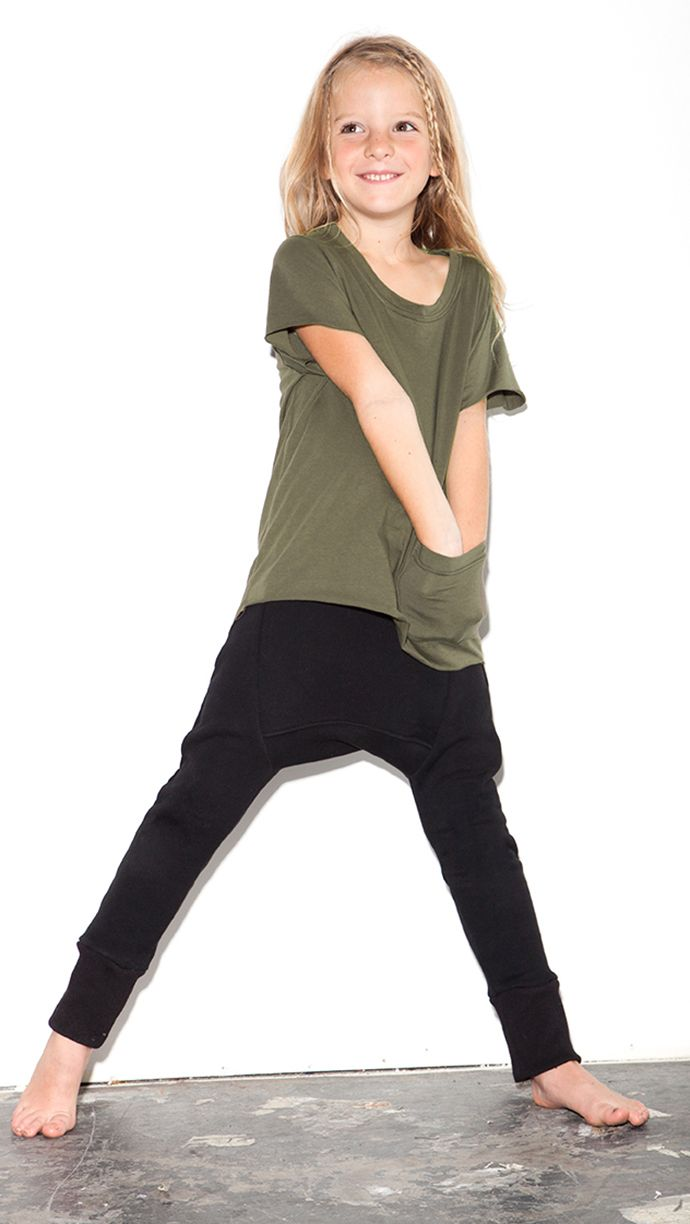 Basic Tail Back Tee and Harem Leggings in fleece.  Stylishly simple.