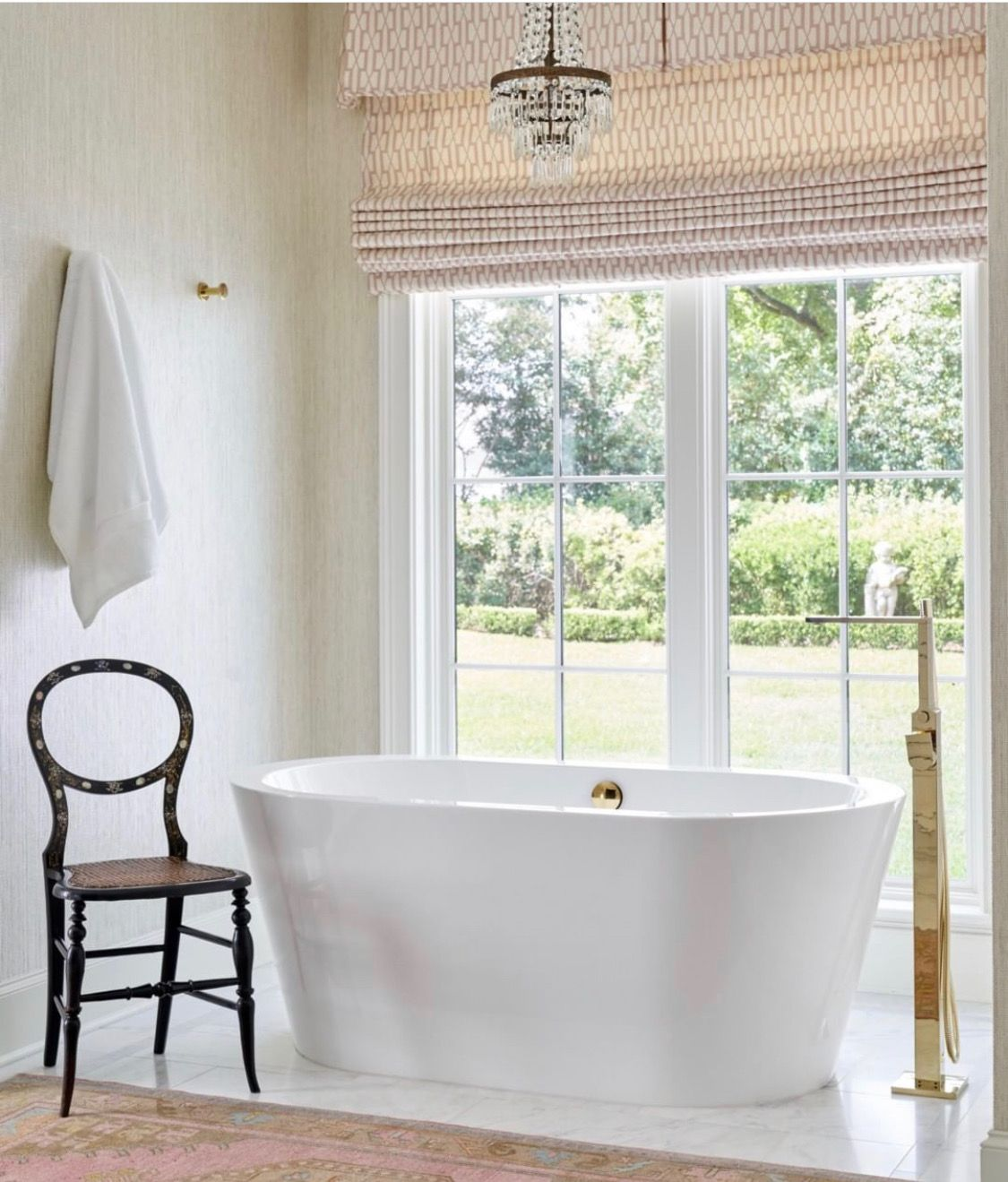 Like This Fabric But In Light Blue Or Gray For Roman Shade Over Tub Jenkins Interiors Bathroom Windows Free Standing Bath Tub Furniture Design Modern [ jpg ]