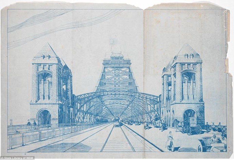 Historic image reveals design for three way sydney harbour bridge a blueprint for one of engineer naval architect and inventor norman selfes designs for the malvernweather Images