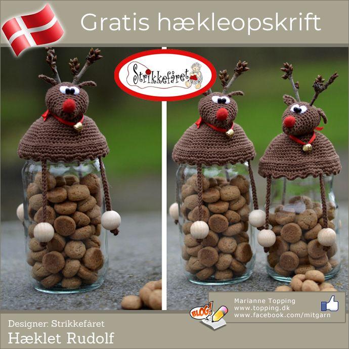 Hæklet Rudolf til småkagerne - årets hæklede værtindegave #hækletjul