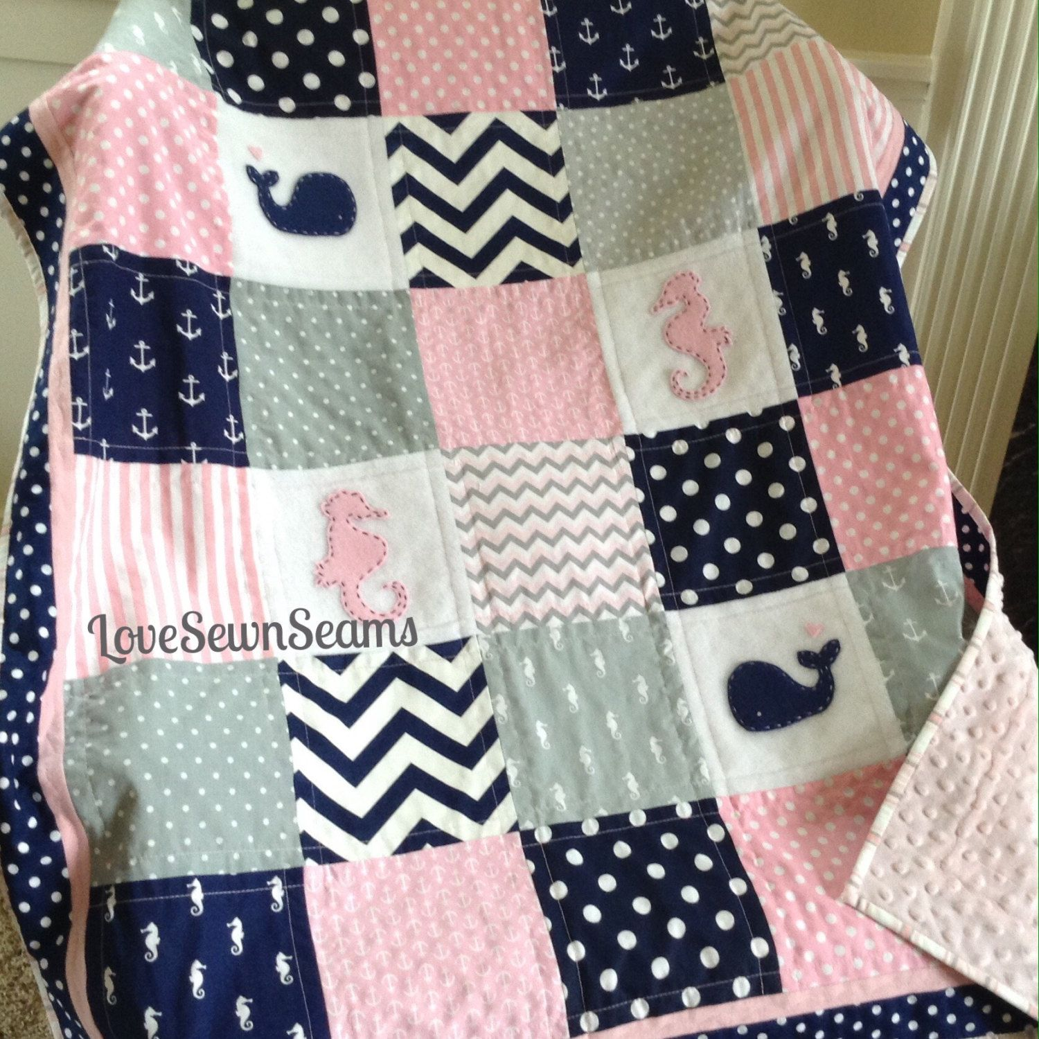 Pink Navy & Gray Nautical Quiltwhales And Seahorsespink Gray Navy