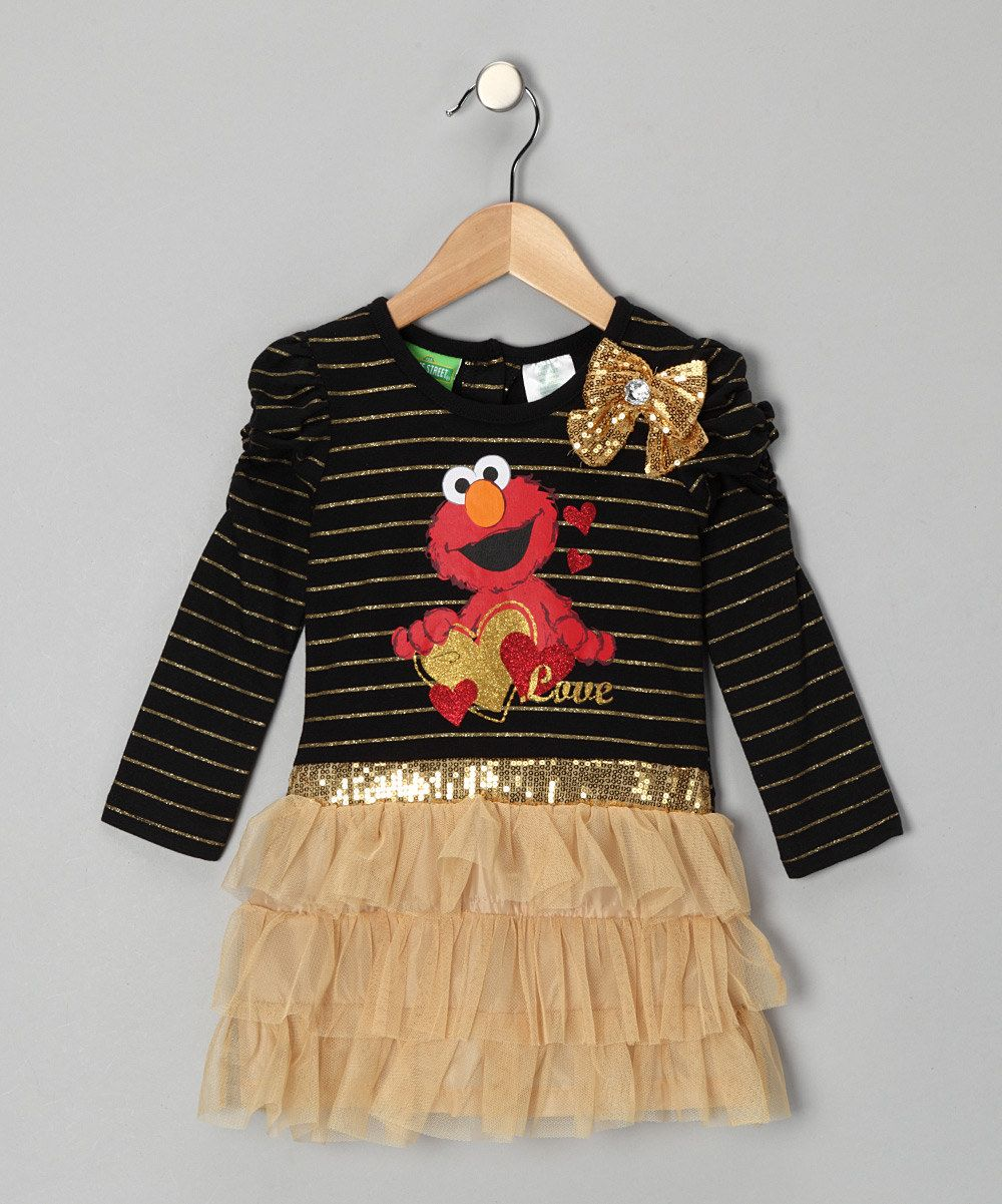Take a look at this Black & Gold Elmo Dress - Infant on zulily today!  $17.99, 12mos-18mos