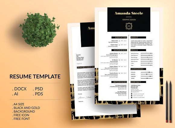 Black n gold CV Resume Template \/ N by Showy68 Template on - font for resumes