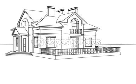 Drawing sketch of a house stock photo sergeymansurov for Easy to draw mansion