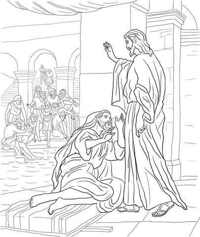 Jesus Heals The Man At The Pool Of Bethesda Coloring Page From