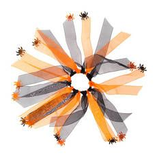 Halloween Black and Orange Ribbon Ponytail Holder with Spiders @ Claire's