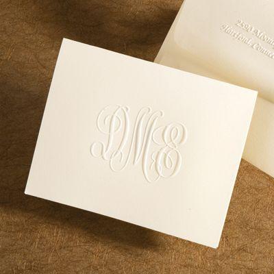 Monogram Embossed Folded Note Cards