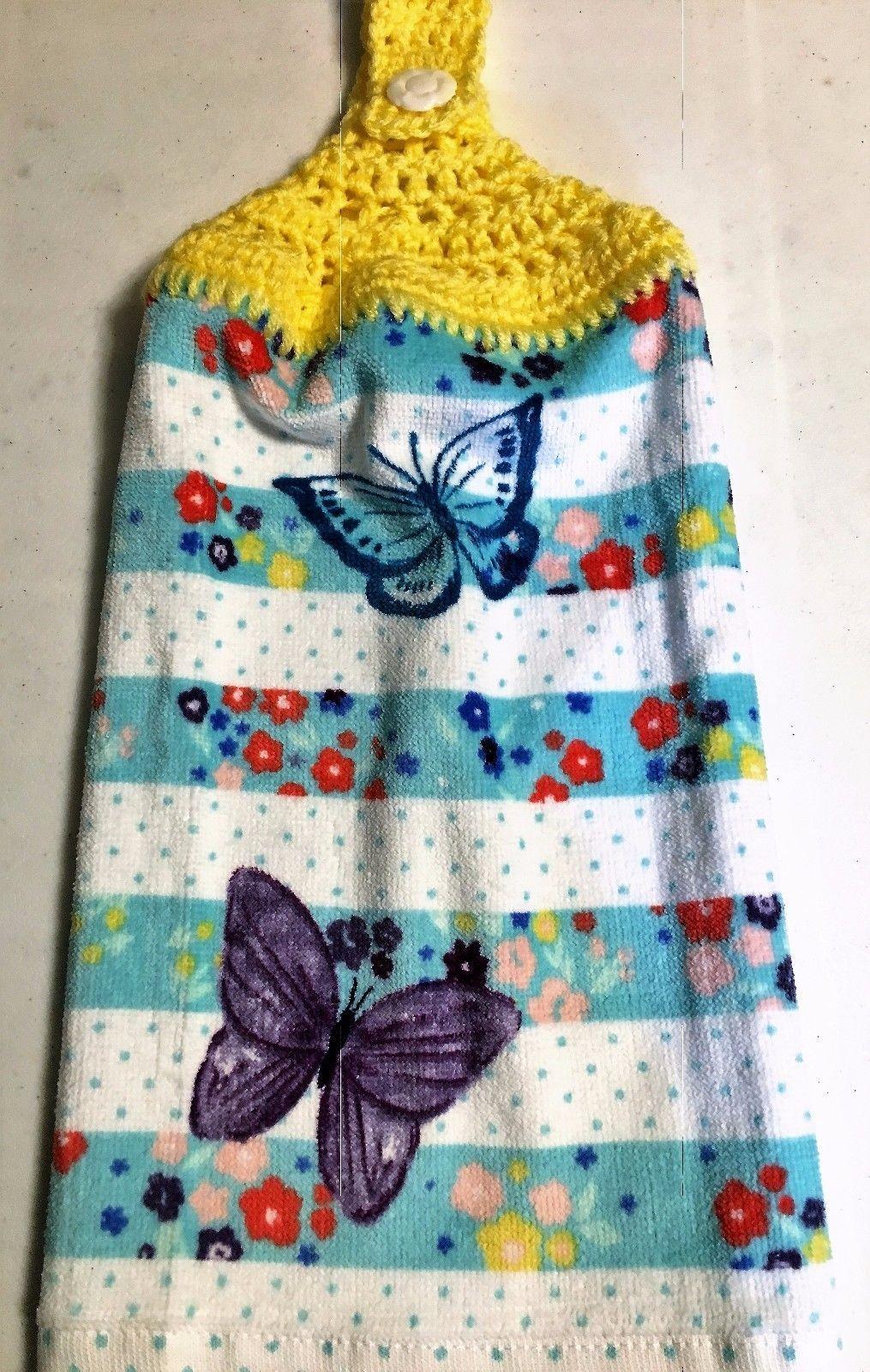 PRETTY BUTTERFLIES and FLOWERS ~~ Hand Crochet Top Cotton Velour ...