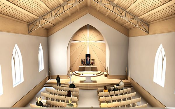 Here Is A Sketch Offer For A Catholic Church Interior Design.The Main Idea