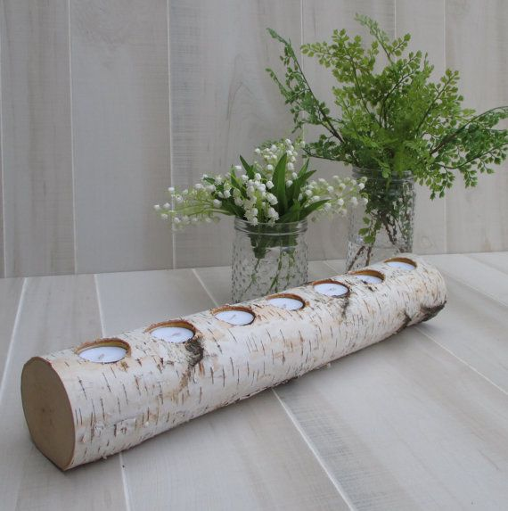 Birch Log Tea Light Candle Holder Long Wedding Home Decor Table