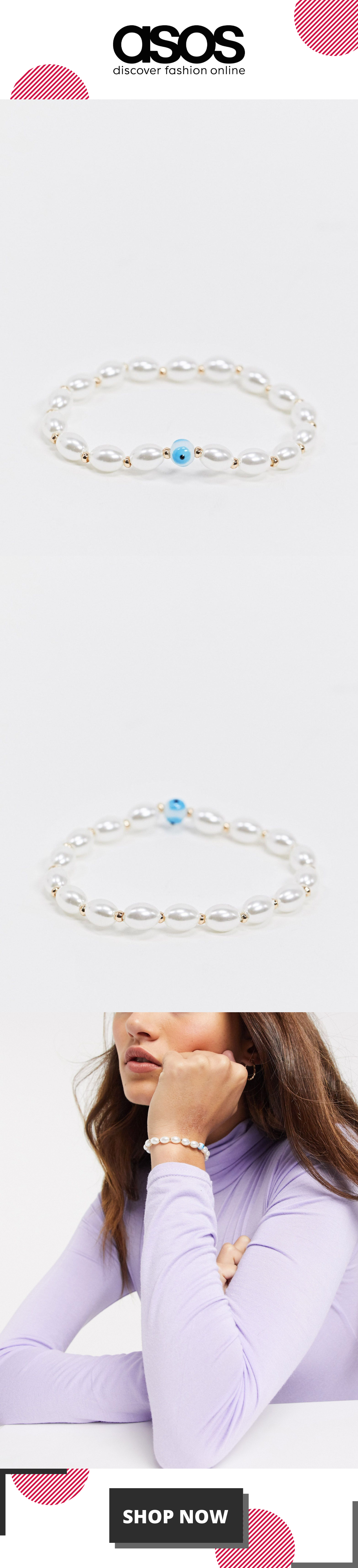 ASOS DESIGN stretch bracelet with faux pearl and eye detail