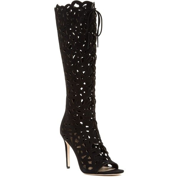 Via Spiga Tressa Peep Toe Tall Boot ($230) ❤ liked on Polyvore ...