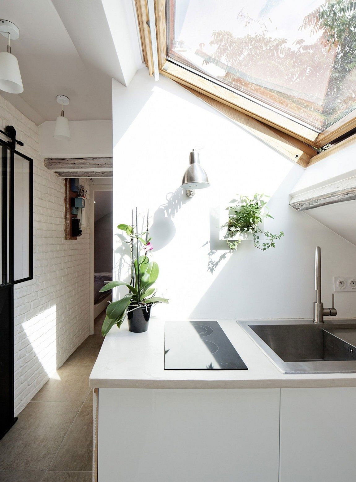 Skylight Brings Sunlight Into The Small Kitchen