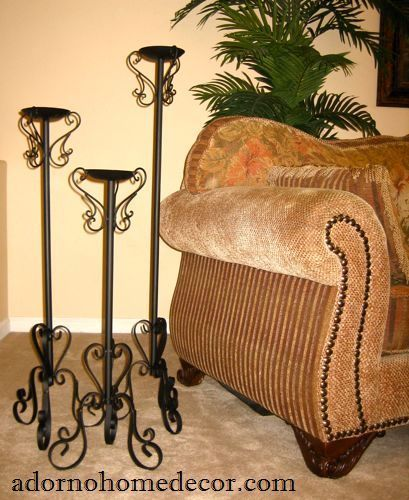 Wrought Iron Floor Candle Holders Set Metal Tall Standing Rustic