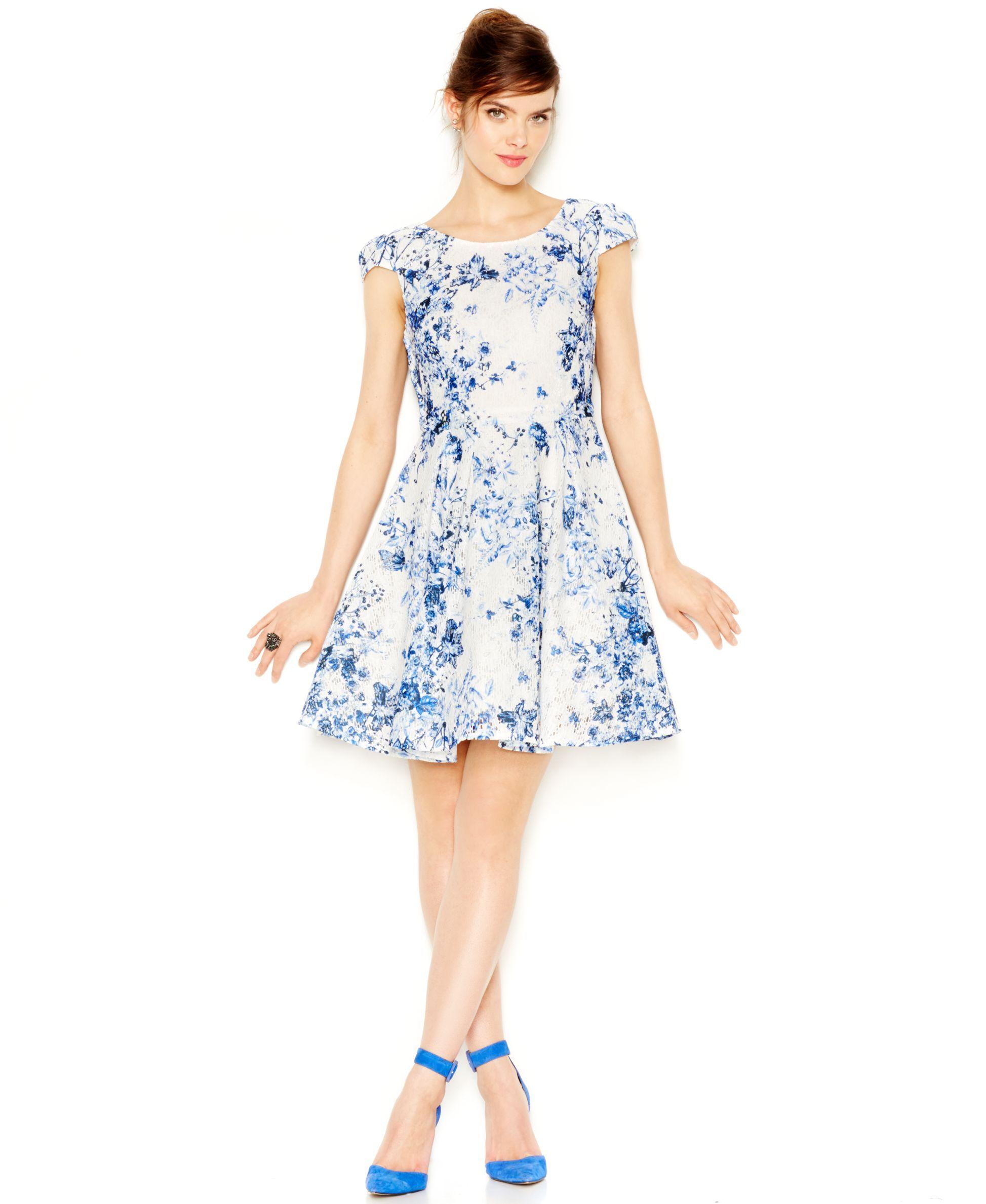 Betsey Johnson Floral-Print Lace Fit & Flair Dress | c l o t h i n g ...