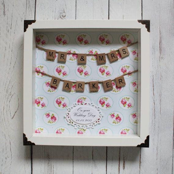 Personalised Photo Frame Wedding Gift: Wedding Scrabble Frame Personalised Gift Custom Scrabble