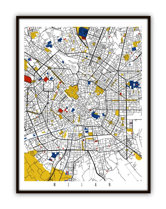 Milan Map Art / Milan, Italy Wall Art / Print / Poster / Modern ...
