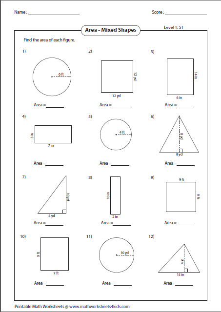 A Vast Collection Of Worksheets On Geometrical Shapes In Both Customary And Metric Units With Images Area Worksheets Triangle Worksheet Math Worksheets