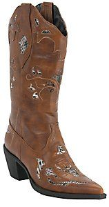 Roper® Rockstar™ Women's Cognac Tan w/ Python Snake Inlay Pointed Toe Western Fashion Boot