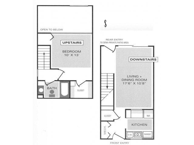 1 Bedroom 1 Bath Loft Townhome Floor Plan Of Property Mill Creek Townhouses Mill Creek Townhouses A Luxur Floor Plans Loft Floor Plans Townhouse Apartments