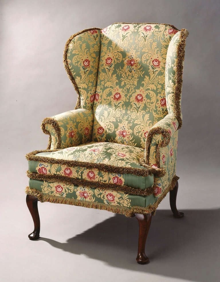 18th Century Mahogany And Beech Fine George Ii Period Wing Chair