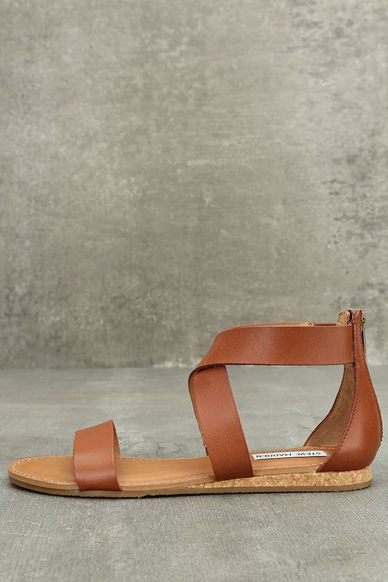 2e88c565f17b Steve Madden Halley Cognac Leather Sandals in 2018