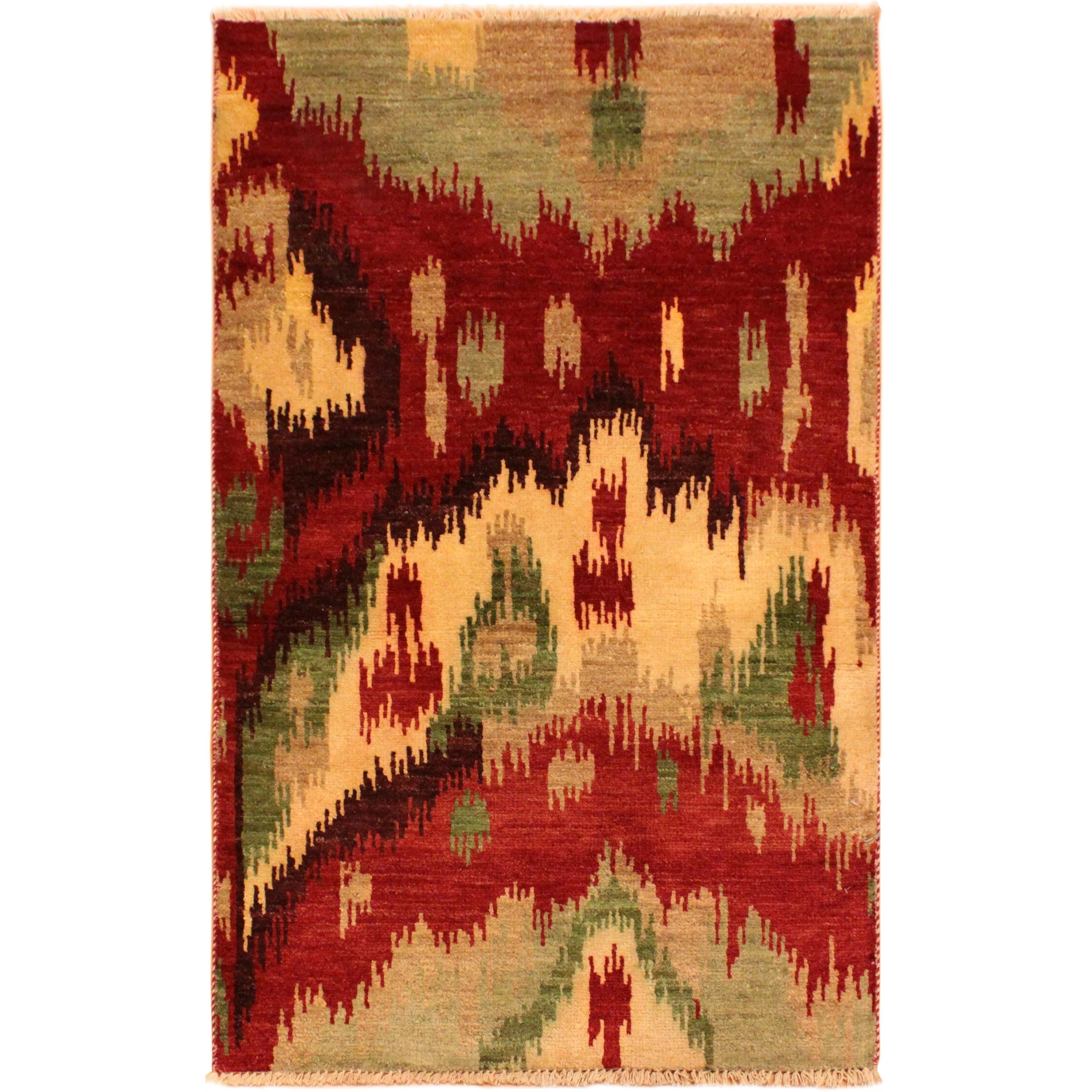 Modern Ikat Barney Red Tan Wool Area Rug 2 11 X 5 0 2 Ft 11