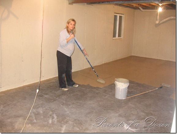 Painting an Unfinished Basement so easy  a pregnant woman can do it