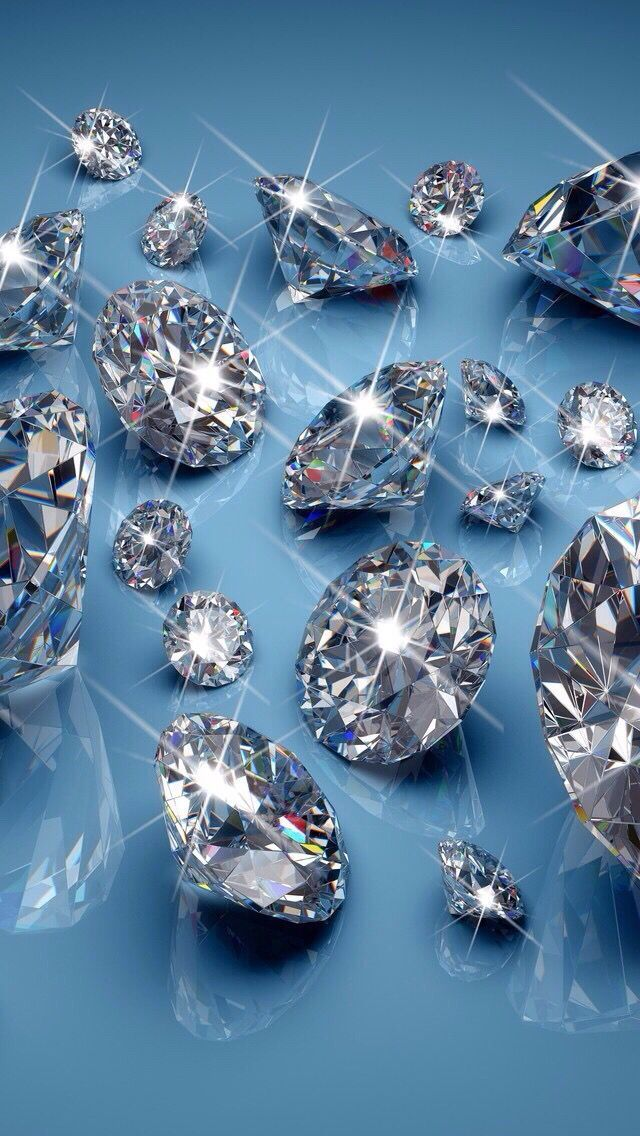 Sparkling Diamonds With Blue Background