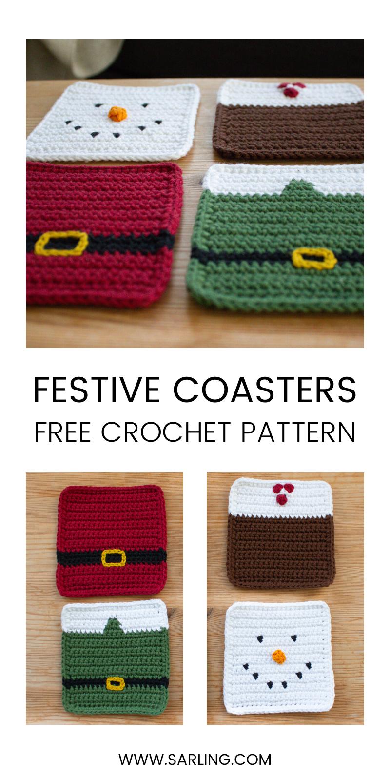 Free Pattern - Crochet Christmas Coasters #crochetcrafts