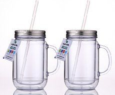 Cupture® 2 Vintage Clear Mason Jar Tumbler Mug With Stainless Steel Lid and Straw - 20 oz