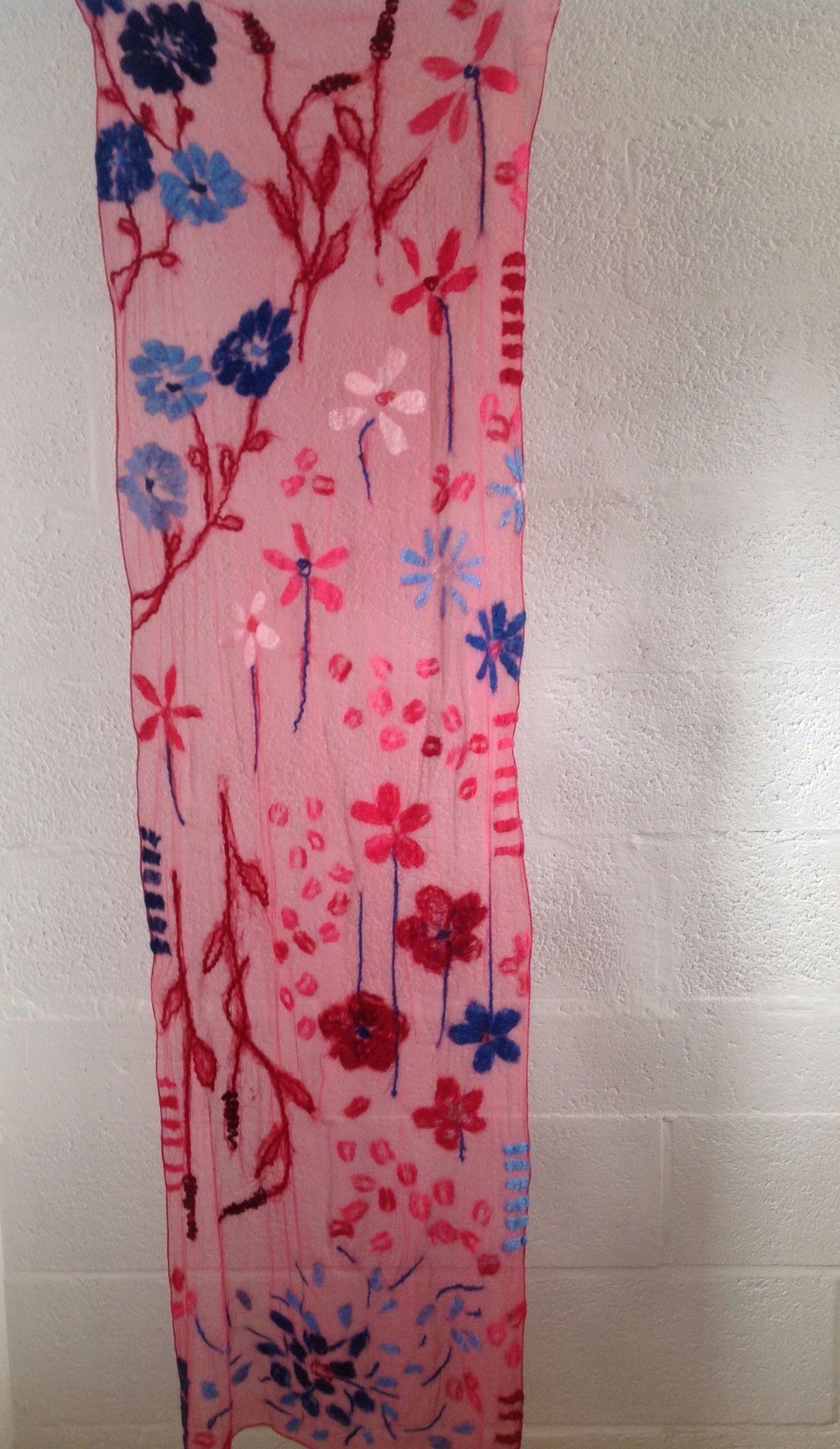 Nuno felted shawl by Veerlaine. Merino design on silk chiffon
