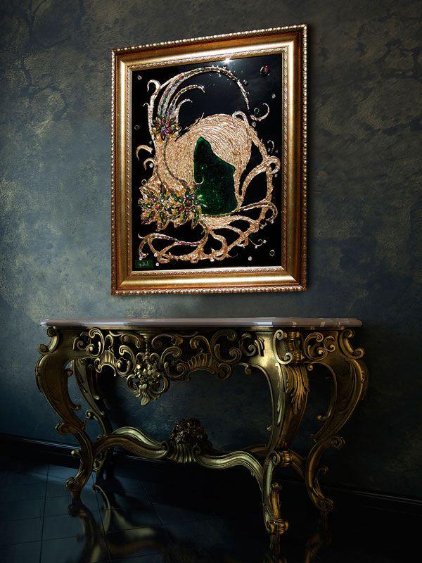 3D объемная картина Trinity, холст, глазурь, глиттеры, позолота, кристаллы Swarovski, багет