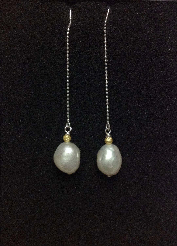 Fresh Water Pearl Threader Earrings, Silver Threader Earrings, Raw Pearls…